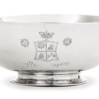 6. silver punch bowl, daniel christian fueter, dated 1763