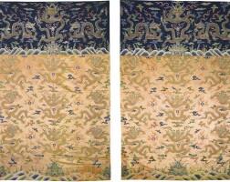 10. 清十八世紀 御製杏黃緞繡九金龍紋褂幅一對