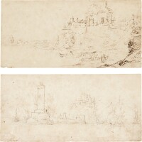 9. follower of pieter bruegel the elder | a pair of landscapes: a) estuary view with boats tied up below peasant dwellings; b) harbour view with a castle on a rocky outcrop