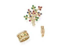 9001. group of gem set and diamond jewellery, cartier