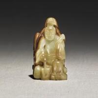 241. a yellow and russet jade figure of zhou yanzi ming dynasty |