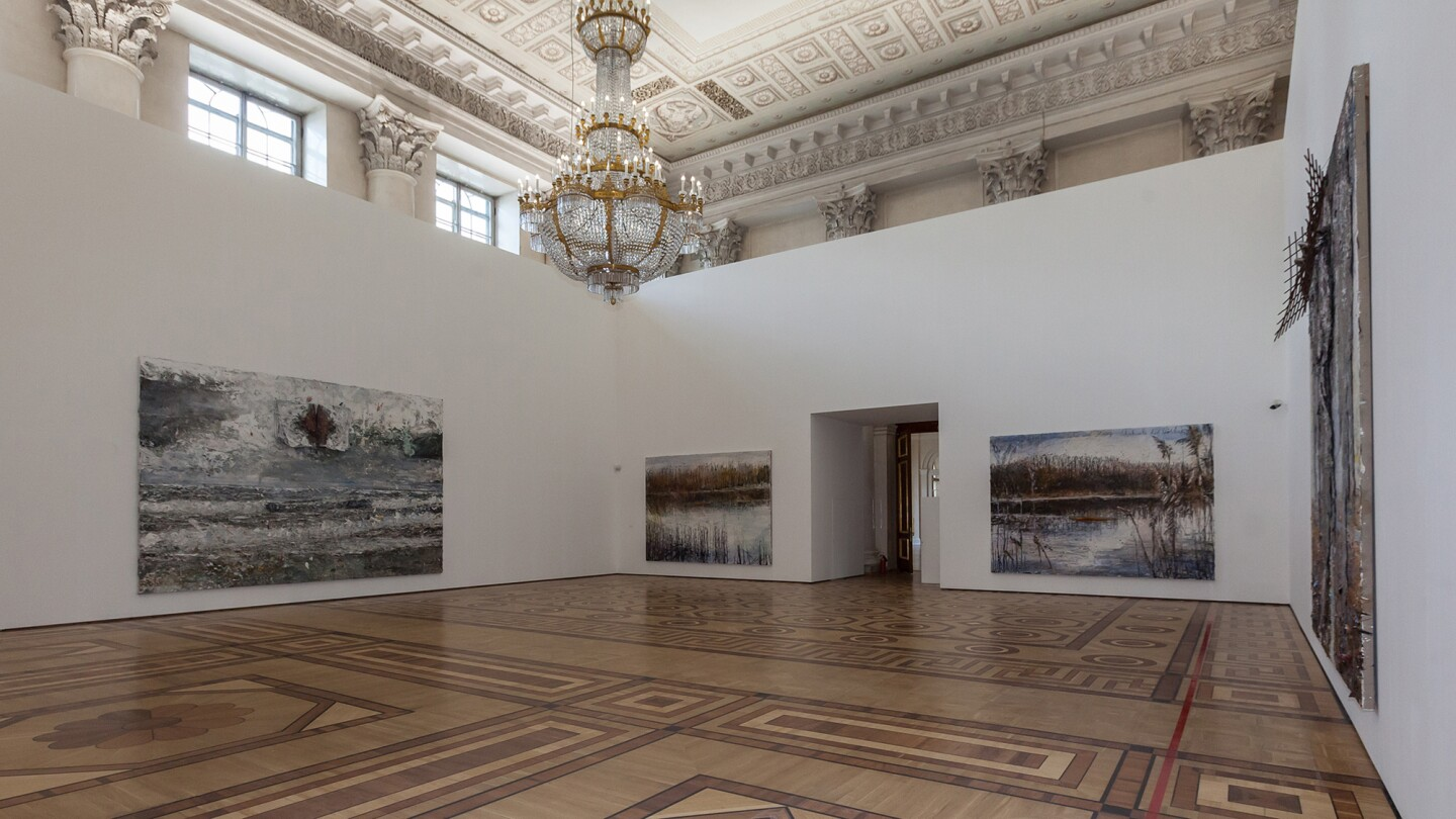 Installation shot of Anselm Kiefer, for Velimir Khlebnikov at the Hermitage Museum in 2017