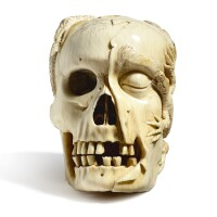 3116. a finely carved ivory memento mori skull 17th century |