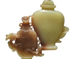 5. a yellow and brown jade 'vase' group qing dynasty, qianlong period |