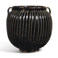 9. a black-glazed ribbed and handled jar northern song – jin dynasty