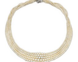 11. natural pearl and diamond necklace, early 20th century
