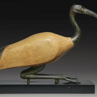 6. a large bronze and wood figure of an ibis, possibly late period egyptian, 716-30 b.c, in whole or in part