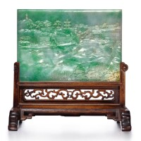 10. an exceptionally rare apple-green jadeite 'landscape' table screen qing dynasty,qianlong period |