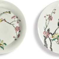 516. a fine pair of later-enameled famille-rose 'bird and flower' dishes yongzheng seal marks and period  
