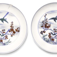 12. a pair of doucai 'magpie' dishes kangxi marks and period