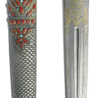 178. an ottoman coral andturquoise-set dagger with scabbard, anatolia, probably trabzon, 19th century