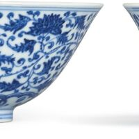 3605. a pair of blue and white 'floral' bowls marks and period of yongzheng |