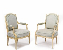 41. a pair of louis xvi grey-painted fauteuils circa 1780, stamped g. jacob
