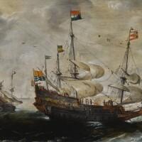 28. 安德里斯·凡·埃特費爾特 | 《一艘飄揚澤蘭省旗的四桅帆船與遠處的另一艘船》