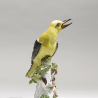 3. a meissen figure of a green woodpecker circa 1733-34, later decorated