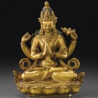 111. 十八世紀 藏傳鎏金銅四臂觀音坐像