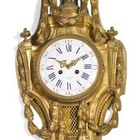 39. a louis xvi-style gilt bronze cartel wall clock, french, circa 1890  