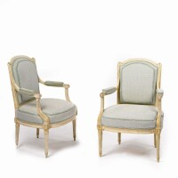 39. a pair of louis xvi grey-painted fauteuils circa 1780, stamped g. jacob