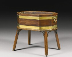 302. a george iii brass bounded mahogany wine cooler on stand circa 1770