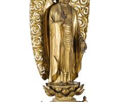 6. a japanesegilt and lacquered wood figure of buddha, edo period, 19th century
