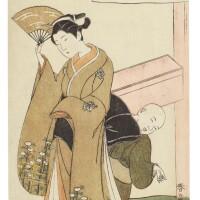8. katsukawa shunsho (1726–1792)courtesan and a small dog following her edo period, 18th century |