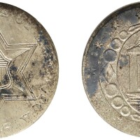 8. three-cent piece, silver, 1856, ngc ms 65 cac