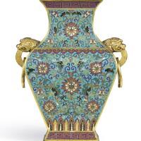3629. a magnificent cloisonné enamel and gilt-bronze vase,fanghu mark and period of qianlong