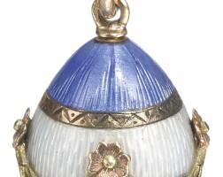 440. a gold and enamel egg pendant, circa 1900