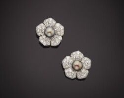 3. pair of natural pearl and diamond earclips, van cleef & arpels