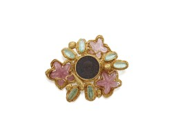 512. gold, pink and green tourmaline and bronze coin brooch, elizabeth gage