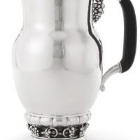 12. a danish silver grapevine pattern pitcher, no. 407a, georg jensen & wendel, copenhagen, circa 1945-51