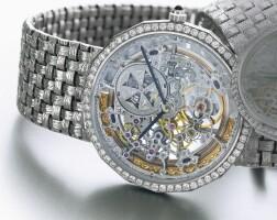 48. 江詩丹頓(vacheron constantin) | 白金鑲鑽石自動上鏈半鏤空鍊帶腕錶,年份約1995。