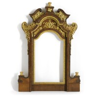8. an austrian walnut and carved giltwood painted mirror frame, baroque, 18th century