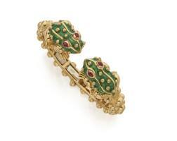 5. gold, enamel and ruby bracelet, david webb