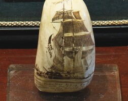 22. rare engraved and colored scrimshaw sperm whale tooth, probably maine, mid-19th century