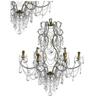 314. a pair of brass and cut-glass six-light chandeliers