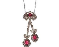 5. pink tourmaline and diamond pendant, circa 1910