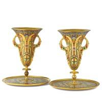 136. paire de vases sur présentoirs en bronze doré et émaux cloisonnés jaune sur fond vert, signés f.barbedienne et f. barbedienne fondeur, fin du xixe siècle
