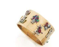 37. gold, gem-set and diamond cuff-bracelet