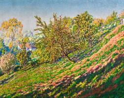 435. gustave cariot | arbres en flanc de colline