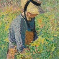 121. henri martin | paysanne dans les vignes (marie-louise) - rectomarie-louise assise au soleil - verso