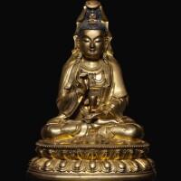 314. 十七世紀 銅鎏金觀音坐像  