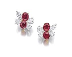1761. 紅寶石配鑽石耳環一對