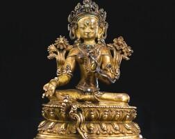 706. a gilt-bronze figure depicting tara tibet, 14th/15th century
