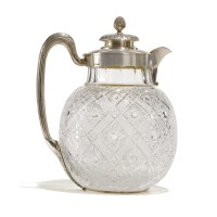 456. a silver-mounted cut glass decanter, bolin, workmaster konstantin linke, moscow, 1899-1908