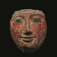 9. an egyptian polychrome cartonnage mummy mask, 19th/21st dynasty, 1305-946 b.c.