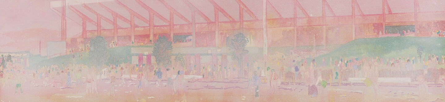 peter doig's painting 'Buffalo Station' which he painted outside of a Rolling Stones concert