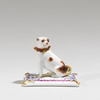 210. a meissen miniature figure of a pug dog circa 1745, probably later decorated