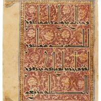 10. a rare and finely decorated qur'an leaf in eastern kufic script, persia or central asia, circa 1075-1125 ad