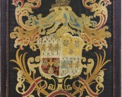 11. fine and rare silk embroidered coat of arms of the barrett and gerrish families, elizabeth barrett, boston, massachusetts, circa1767